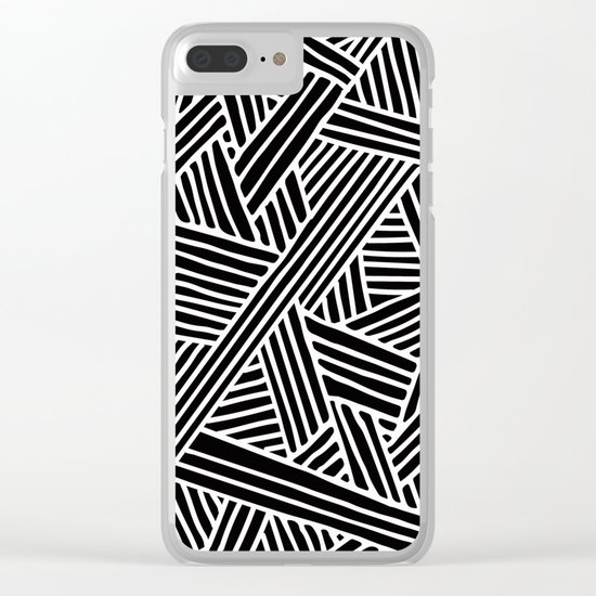 Abstract black & white Lines and Triangles Pattern-Mix and Match with Simplicity of Life Clear iPhone Case