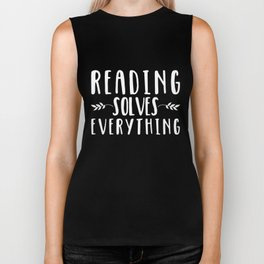 Reading Solves Everything (inverted) Biker Tank