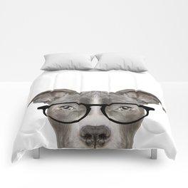Pit bull with glasses Dog illustration original painting print Comforters