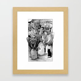 Three Wise Zombies Grayscale Framed Art Print
