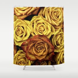 Golden Yellow Roses Pattern (Color) Shower Curtain