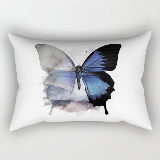 Blue Shadows Butterfly Rectangular Pillow