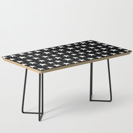 Star Pattern White On Black Coffee Table
