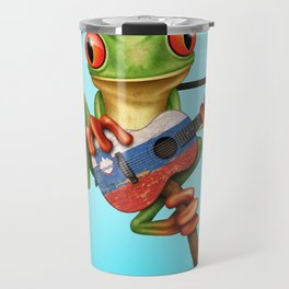 Tree Frog Playing Acoustic Guitar with Flag of Slovenia Travel Mug
