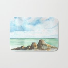 2019 Watercolor Sea Scape Series 001 Watercolor Painting Bath Mat