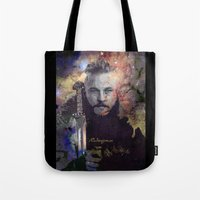 vikings Tote Bags featuring Ragnar in the Stars - Vikings by RsDesigns