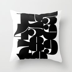 Numbers Black Throw Pillow