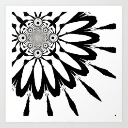 The Modern Flower White & Black Art Print