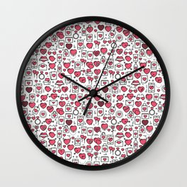 Background with icons and hearts Wall Clock
