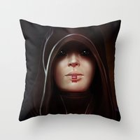 mass effect Throw Pillows featuring Mass Effect: Kasumi Goto by Ruthie Hammerschlag
