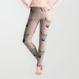 Hummingbird and polka dots Leggings