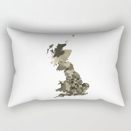 Great Britain Map Print Abstract in Camouflage Desert - A great talking piece for the home! Rectangular Pillow