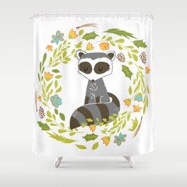 woodland raccoon folk flower wreath illustration Shower Curtain