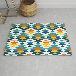 Bohemian large aztec diamonds blue pattern Rug