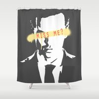 moriarty Shower Curtains featuring Miss Me? / Moriarty / III by Earl of Grey