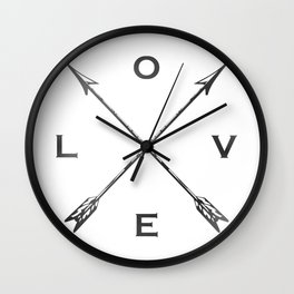 Watercolor Love Arrows Wall Clock