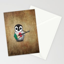 Baby Penguin Playing Mexican Flag Guitar Stationery Cards
