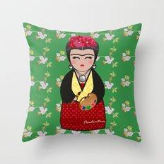 Kokeshi Frida Kahlo Throw Pillow