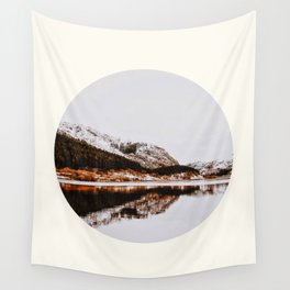 Mid Century Modern Round Circle Photo Graphic Design Reflective Mountain Lake Autumn Forest Wall Tapestry