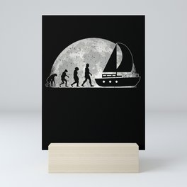Sailboat Evolution Moon Captain Sailor Ship Mini Art Print