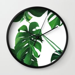 MONSTERA PALM JUNGLE PRINT Wall Clock