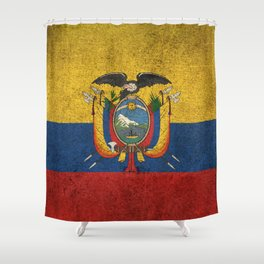 Old and Worn Distressed Vintage Flag of Ecuador Shower Curtain