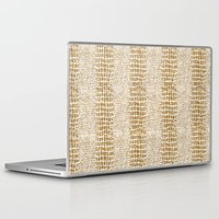 gold glitter Laptop & iPad Skins featuring Gold Glitter Alligator Print by Zen and Chic