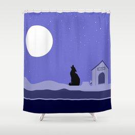 Moon Dog Shower Curtain