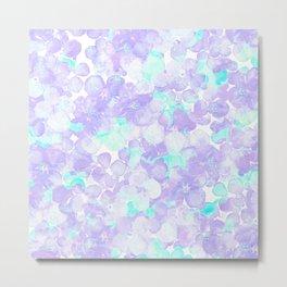 Lavender teal watercolor Hortensia flowers pattern Metal Print