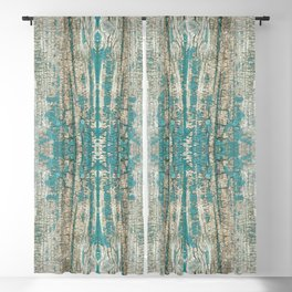 Rustic Wood Turquoise Weathered Paint Wood Grain Blackout Curtain