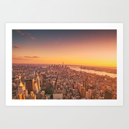 New York City Sunset Skyline Art Print