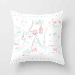 Austin, Texas Illustrated Calligraphy Map Throw Pillow