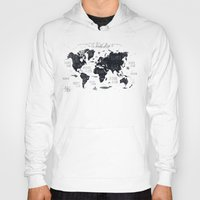 tapestry Hoodies featuring The World Map by Mike Koubou