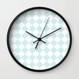 Diamonds - White and Light Cyan Wall Clock