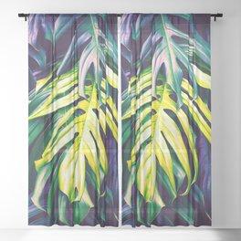 Purple paradisiacal jungle Sheer Curtain