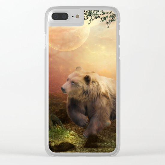 Awesome bear in the night Clear iPhone Case
