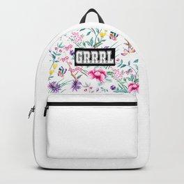 GRRRL - white floral pattern Backpack