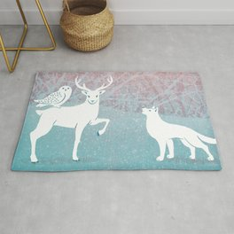 Winter In The White Woods Rug