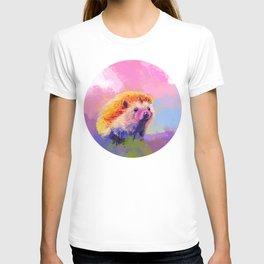 Sweet Hedgehog, cute pink and purple animal painting T-shirt