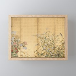 Japanese Edo Period Six-Panel Gold Leaf Screen - Spring and Autumn Flowers Framed Mini Art Print