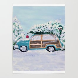 Blue vintage Christmas woody car with pine tree Poster