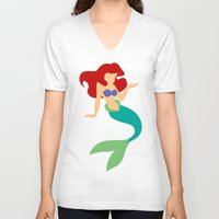 ariel V-neck T-shirts featuring Ariel by Dewdroplet