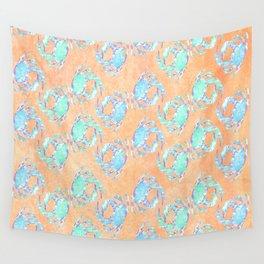 Crab orange blue nautical Wall Tapestry