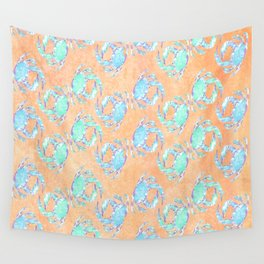 Crab orange blue nautical Wall Tapestry