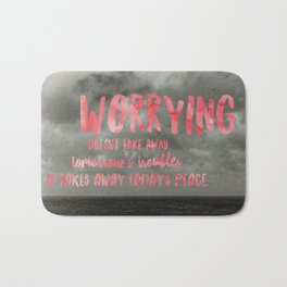 Motivation Poster Black and White Moody Skies with Bright Pink Typography Bath Mat
