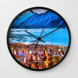 City of Mountains Landscape Painting by Jeanpaul Ferro Wall Clock