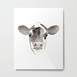 Watercolor Cow Metal Print