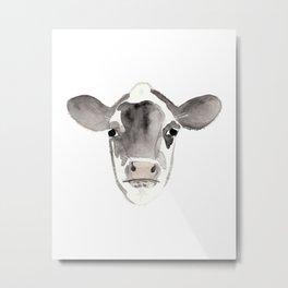 Watercolor Cow Metal Print