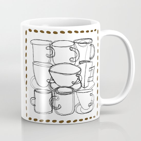 Coffee Beans and Mugs by melasdesign