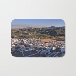 Panoramic View of a white town in Andalusia Bath Mat